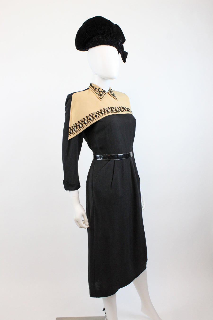 1940s beaded cape dress soutache xs | vintage rayon dress | new in
