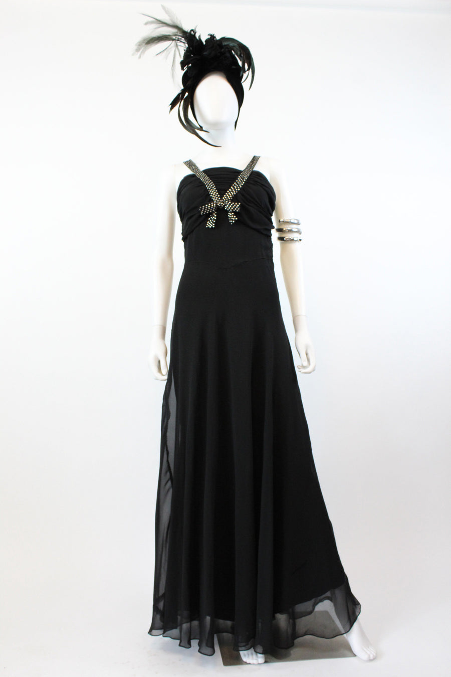 1930s silk rhinestone straps dress small | vintage gown | new in