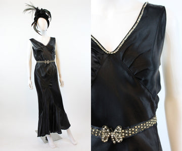 1930s liquid silk and rhinestone dress xs | bias cut butterfly belt gown | new in