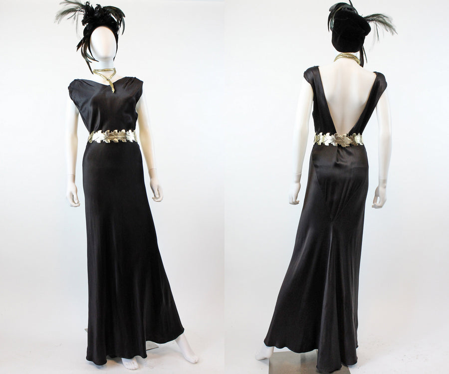 1930s FOGA Fashion Originators Guild gown dress small medium | bias cut liquid satin | new in