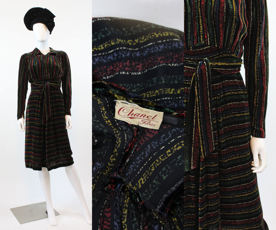 1930s 1940s CHANEL adaptation SILK velvet dress small | new in