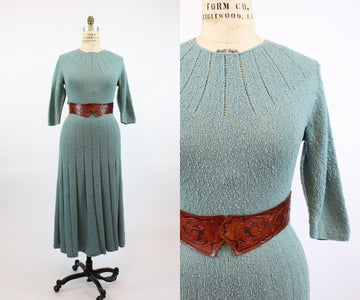 1940s robins egg blue knit dress small medium |  vintage sweater dress | new in