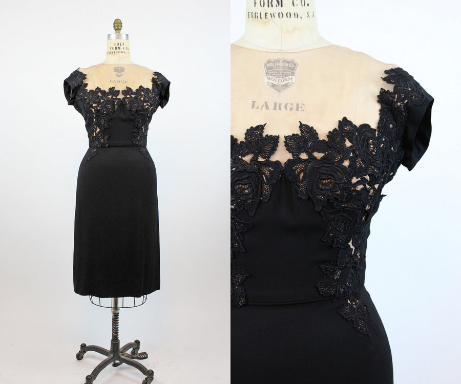 1950s Peggy Hunt dress medium |  lace illusion neckline | new in