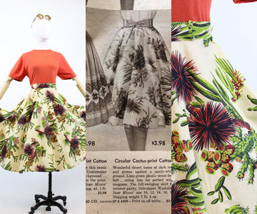 1955 Sears catalog documented novelty print skirt xs | vintage cactus print | new in