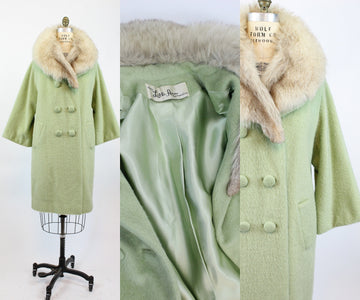 1960s pistachio Lilli Ann fur coat large | vintage wool coat | new in