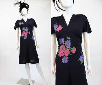 1940s applique angel sleeve dress xs  | vintage floral rayon dress | new in