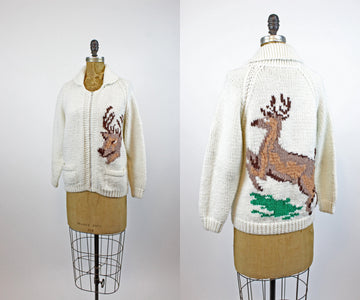 1960s Cowichan KNIT DEER cardigan sweater small medium | new knitwear