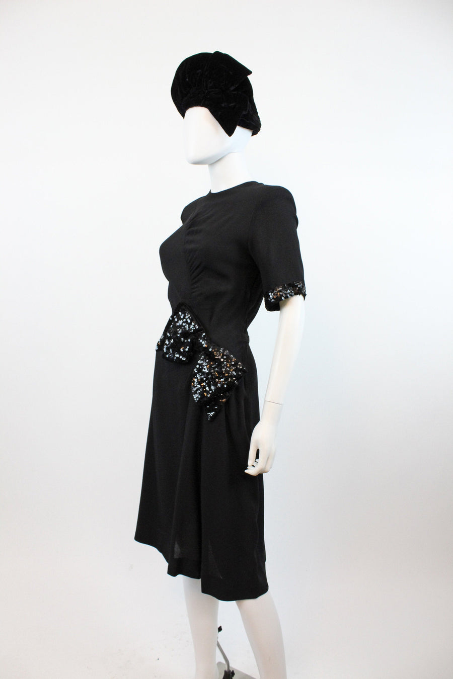 1940s rayon dress sequins small | vintage bow dress | new in