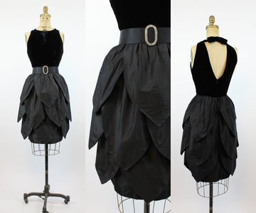 1960s petal skirt open back dress small | vintage velvet tiered skirt dress | new in