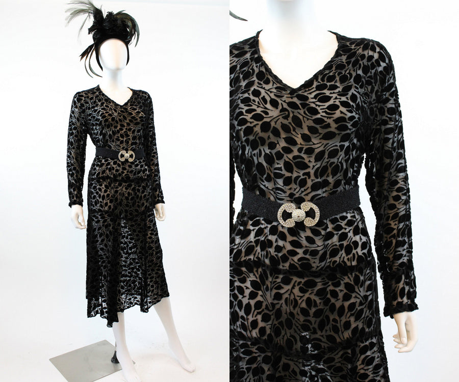 1920s burnout velvet dress large xl volup | 1930s silk velvet dress | new in