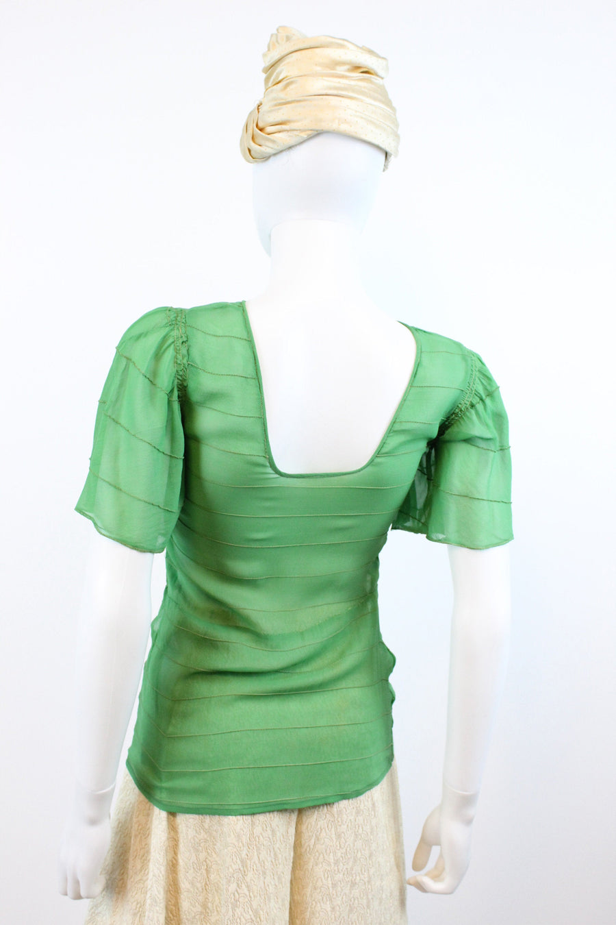 1930s silk flutter sleeve blouse xxs | vintage green top | new in