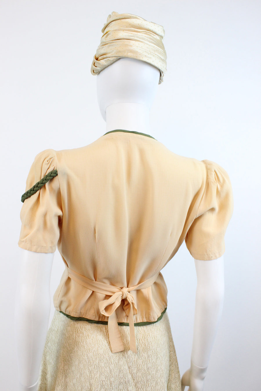 1940s epalulet blouse small | vintage rayon blouse | new in