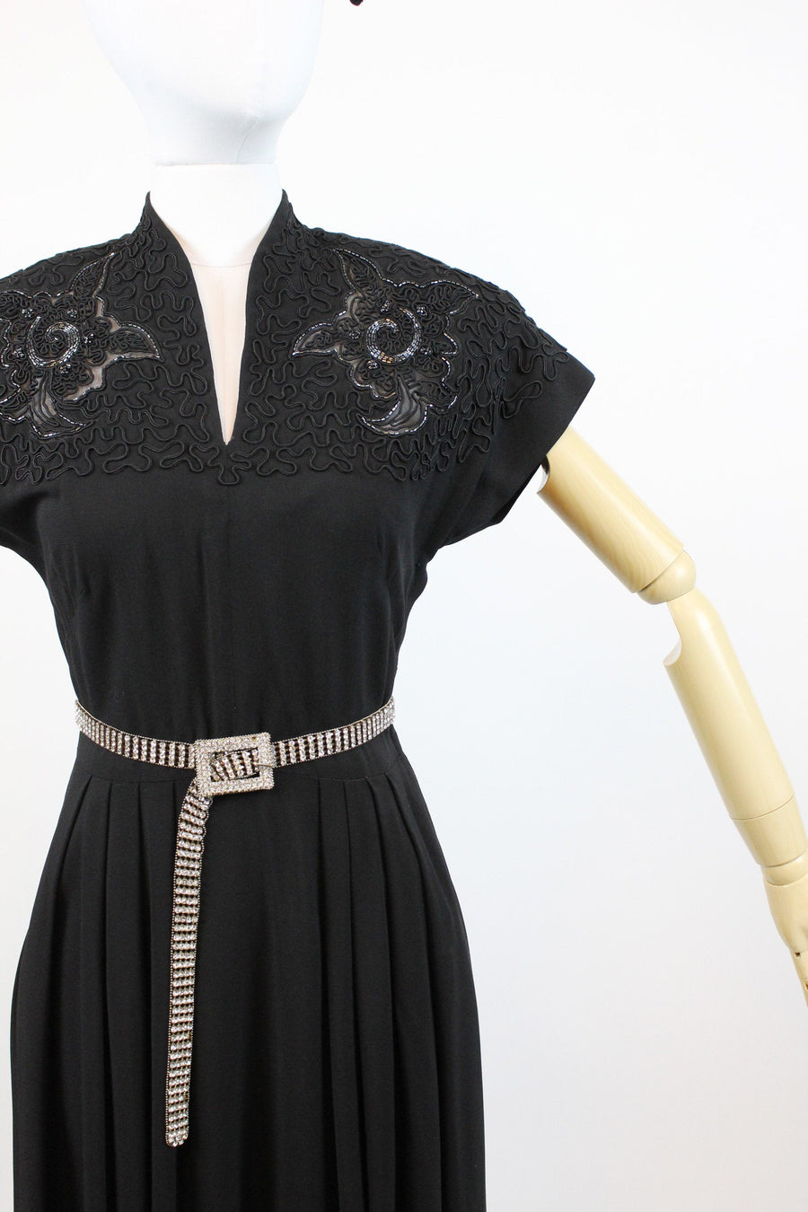 1940s soutache and beaded dress xs | vintage rayon dress full skirt | new in
