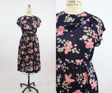 1940s maternity rayon dress large volup | vintage belted adjustable dress | new in
