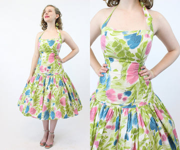 1950s Elverhoj cotton halter dress xxs | vintage mermaid dress | new in