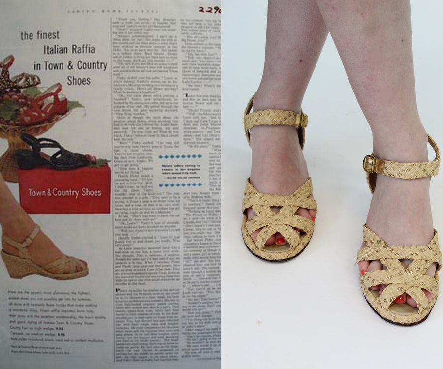 1952 Town & Country raffia sandals size 7.5 us | vintage 50s documented wedges | new in