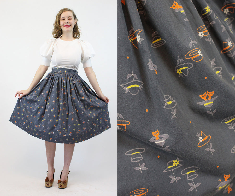 1950s cats and hats cotton skirt xs | vintage novelty skirt | new in