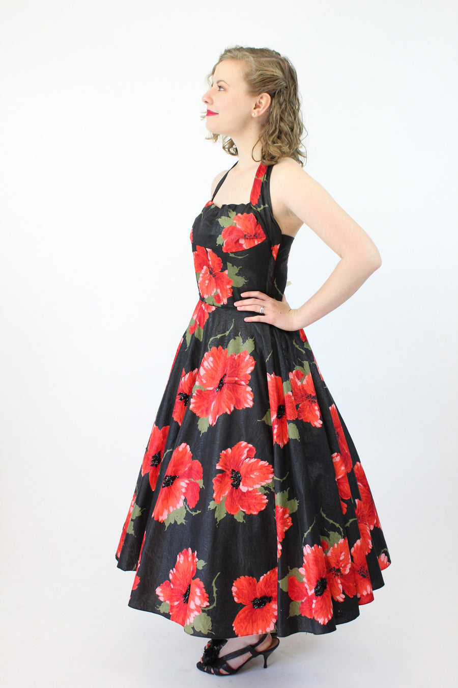 1950s hibiscus print halter dress xs | vintage cotton and sequin dress | new in