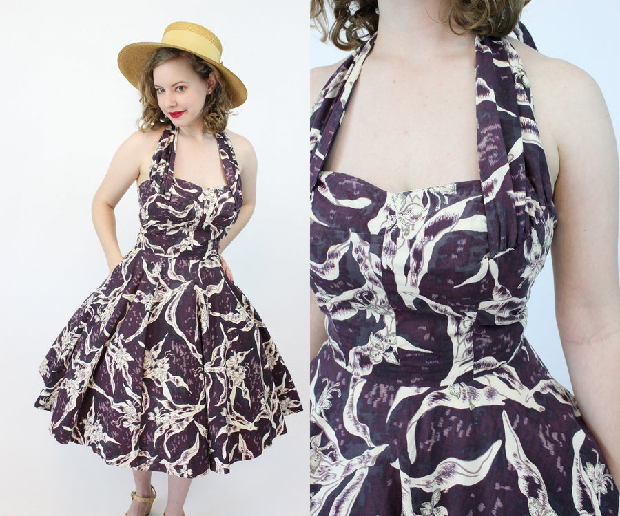 1950s Kamehameha halter dress xs | vintage criss cross straps cotton sun dress | new in