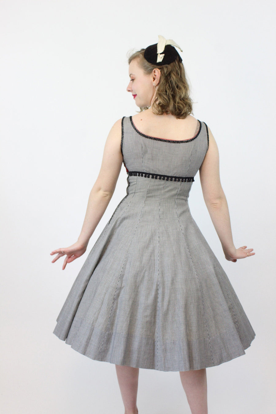 1950s gingham dress xs | vintage cotton soutache beaded | new in