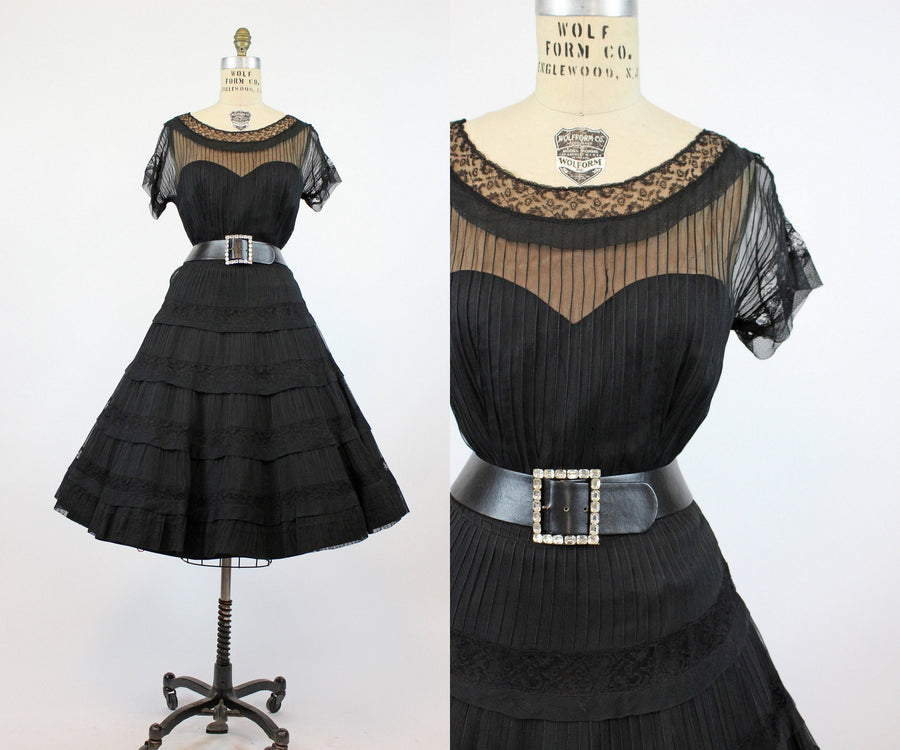 1950s pintucked organza dress small | vintage lace dress | new in