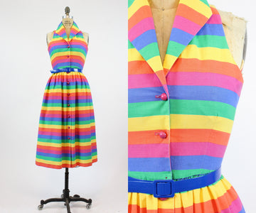 1970s rainbow striped dress small | vintage cotton sun dress | new in