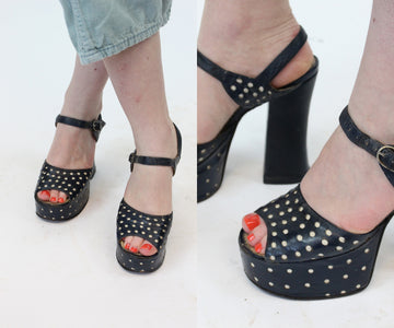 1970s does 1940s platform polka dot shoes size 5 us | vintage leather sandals peep toes | new in