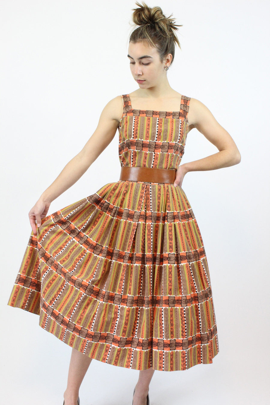 1950s Marjorie Montgomery tribal dress xxs | vintage v back dress | new in