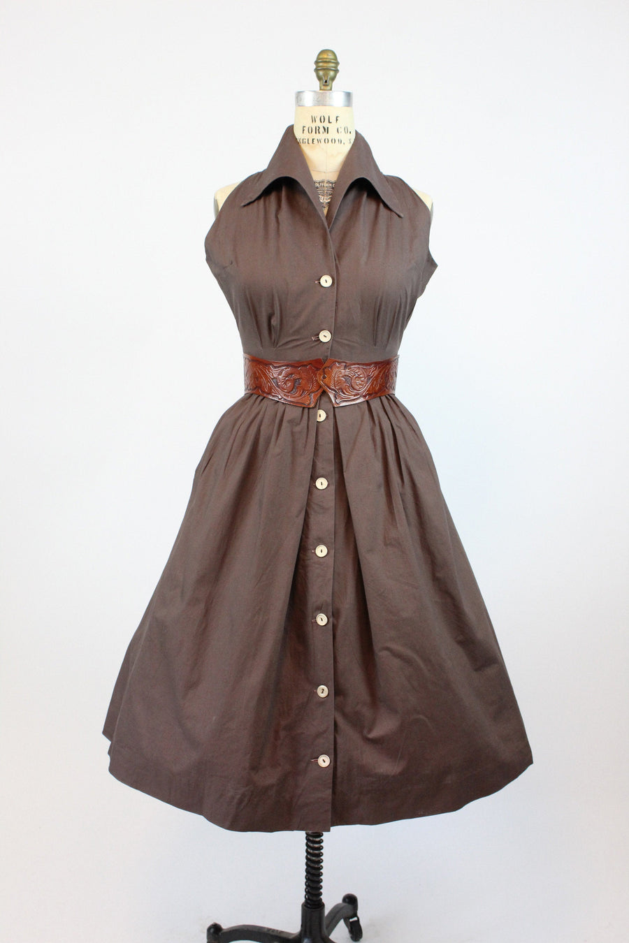 1950s cut in shoulders shirtwaist dress medium | vintage cotton dress | new in