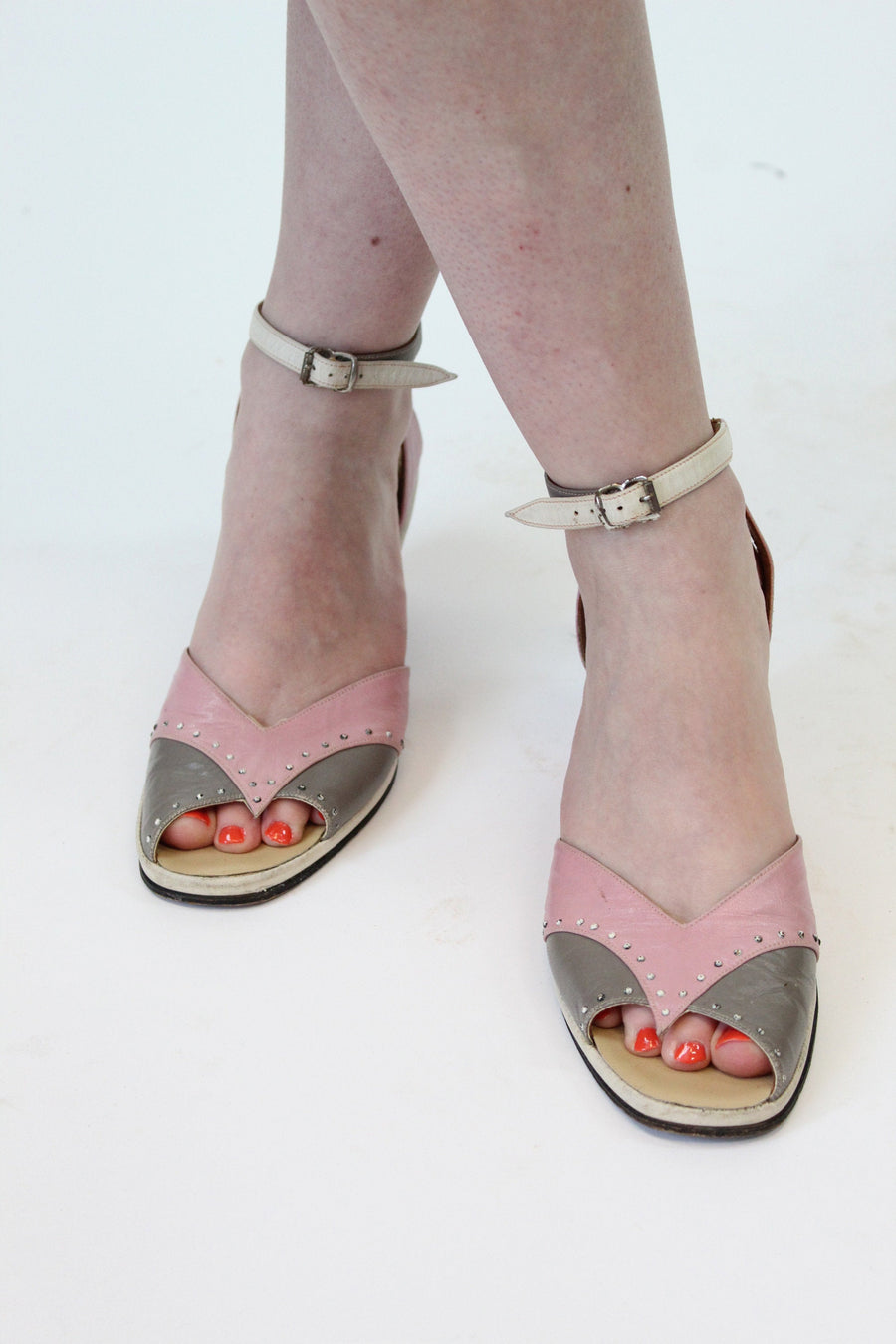 1940s studded ankle strap sandals size 8.5 us | vintage wedges | new in