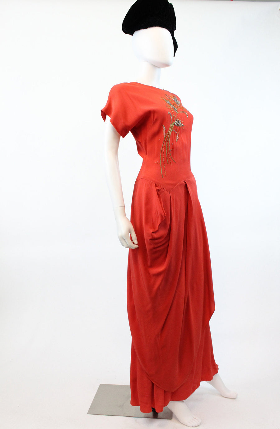 1940s Emma Domb beaded gown xs | vintage rayon draped gown | new in