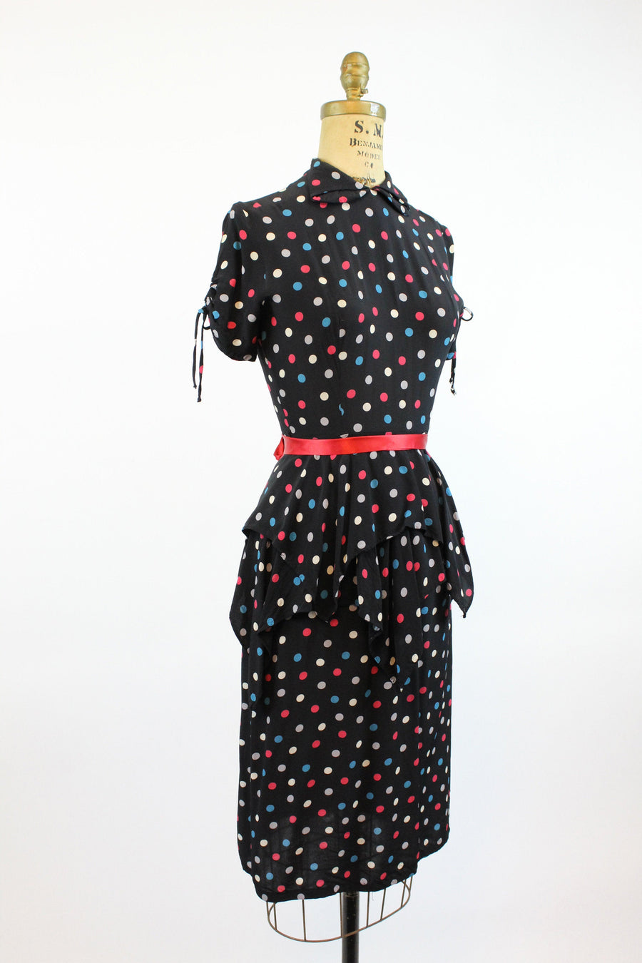 1940s Carole King rayon dress xxs | vintage polka dot peplum dress | new in