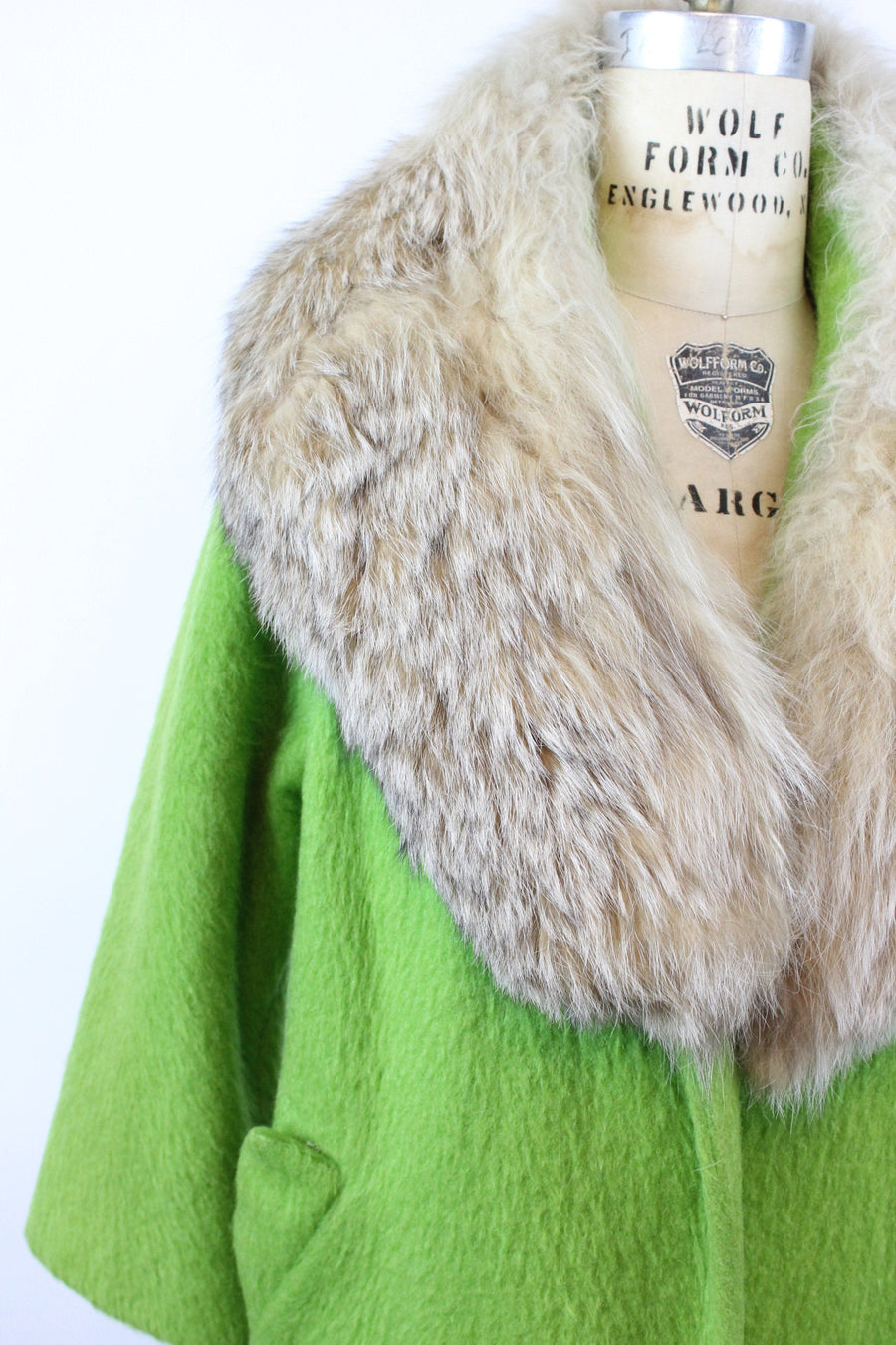1960s Lilli Ann emerald green fox fur mohair coat large volup | vintage clutch coat |  new in