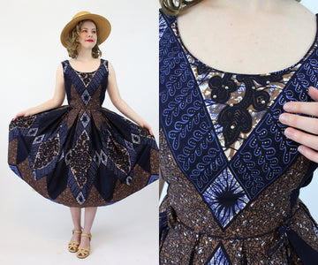 1950s Junior Accent batik rhinestone dress xs | vintage cotton sun dress | new in