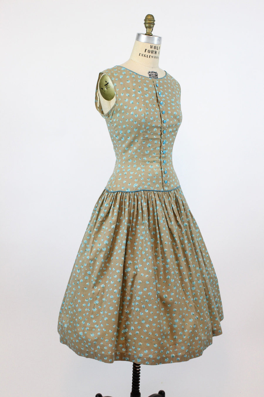 1950s rose print cotton dress small medium | vintage full skirt dress | new in