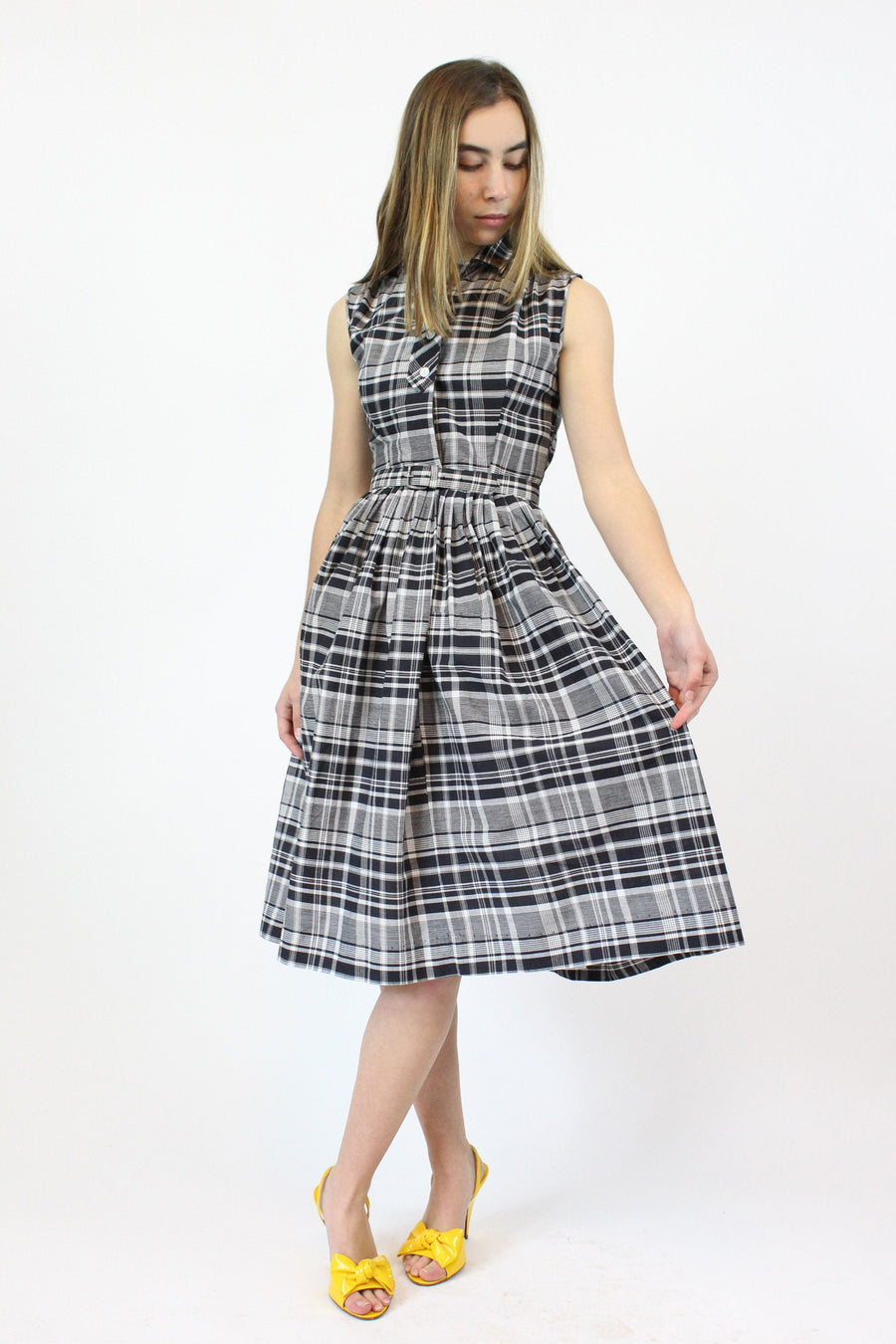 1950s deadstock plaid cotton dress xxs | vintage belted dress | new in