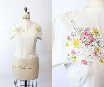 1940s rayon floral blouse medium large | vintage hand painted top | new in