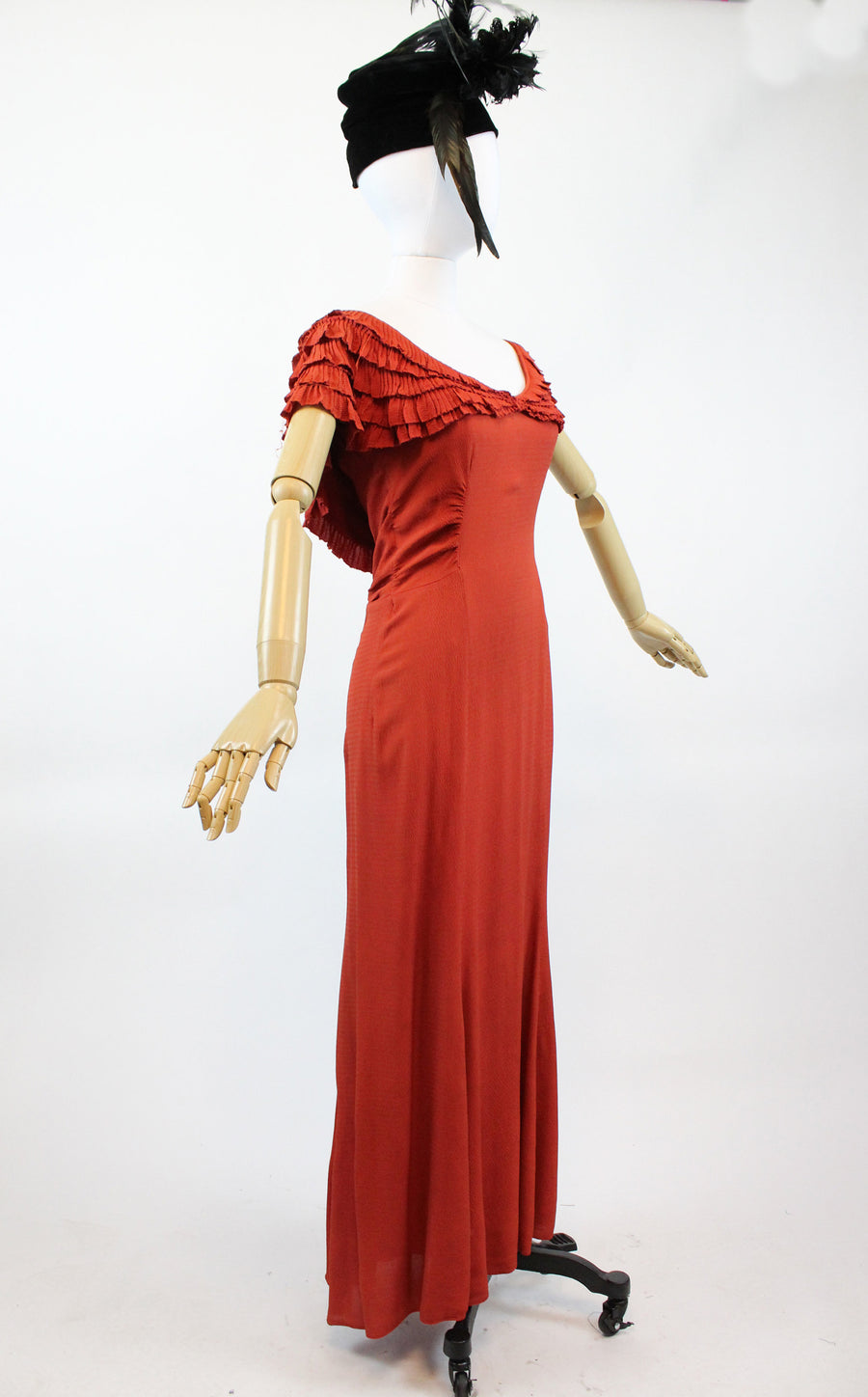 1930s rayon flamenco gown small | vintage cape dress | new in
