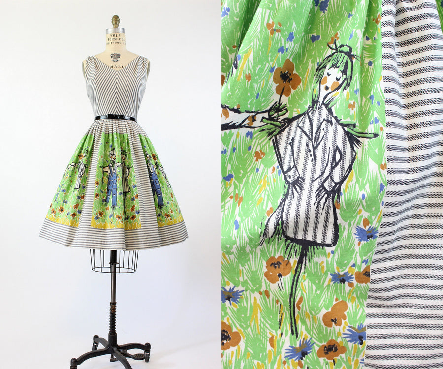 1950s mr and mrs scarecrow border print dress xs  | vintage novelty print cotton | new in
