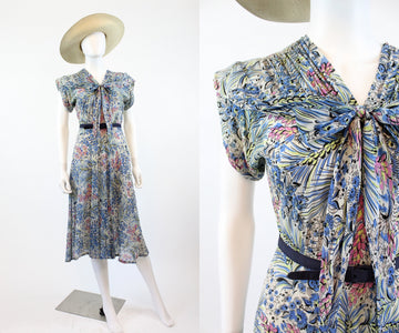 1940s rayon sailor tie dress small | vintage floral dress | new in