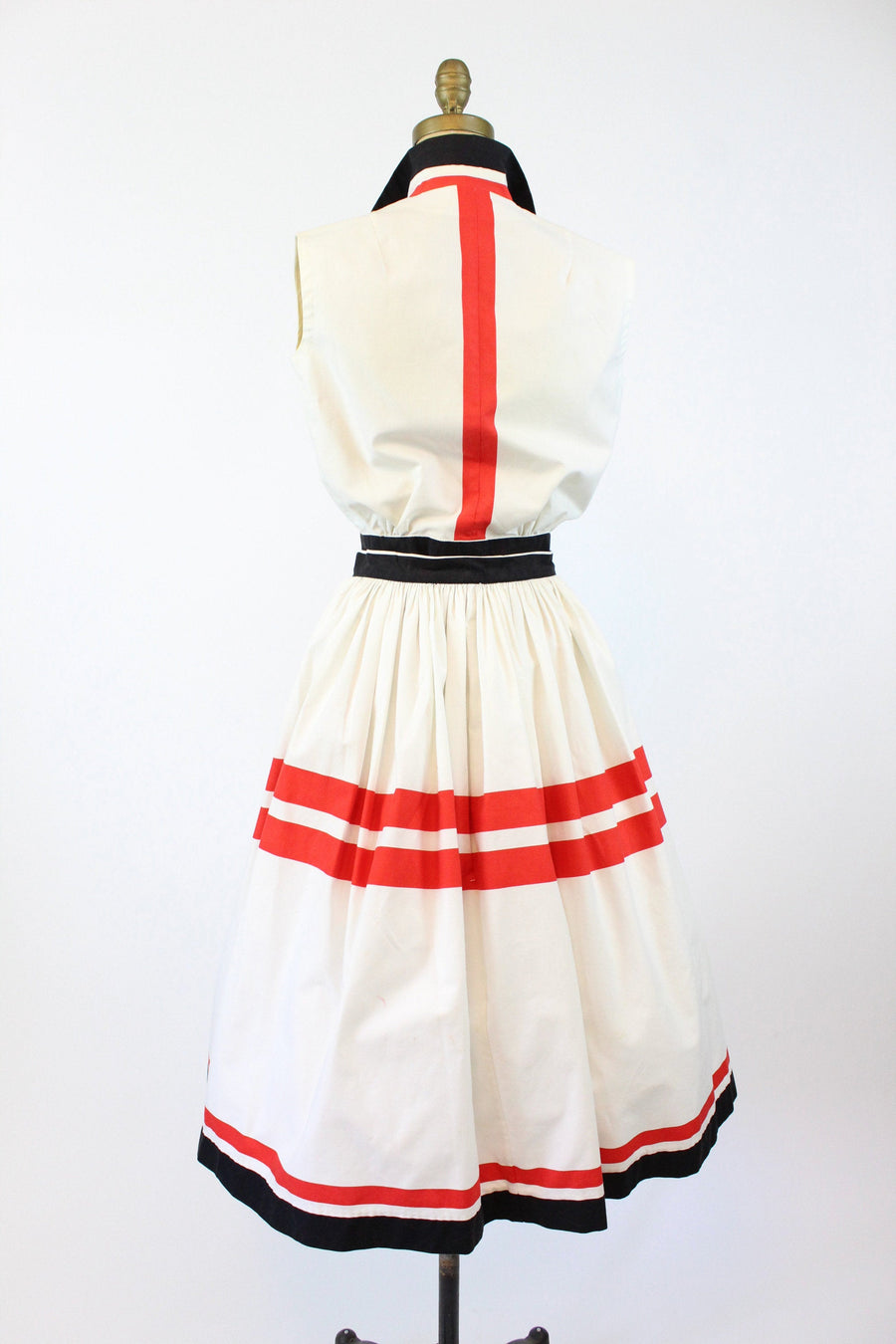 1950s graphic striped cotton dress xs | vintage top and skirt set | new in