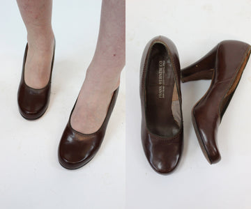 1930s shoes pumps size 6 - 6.5 us | vintage brown leather heels | new in