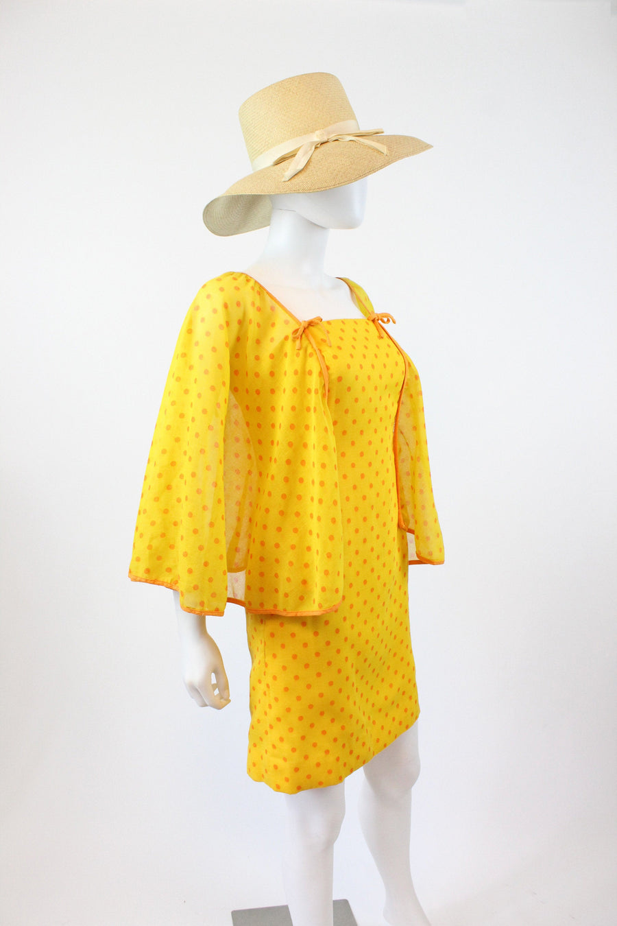 1970s cape sleeves mini dress xxs | vintage polka dot HUGE SLEEVES | new in