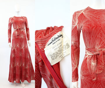 1970s Diane VonFurstenberg maxi dress xs small  | vintage firework print dress | new in