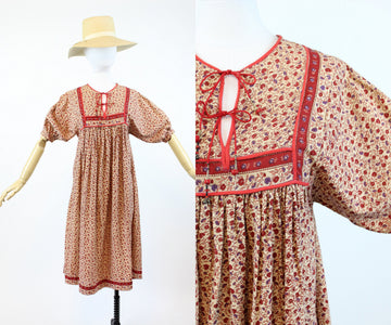 1970s Indian gauze cotton dress xs | vintage boho caftan dress | new in