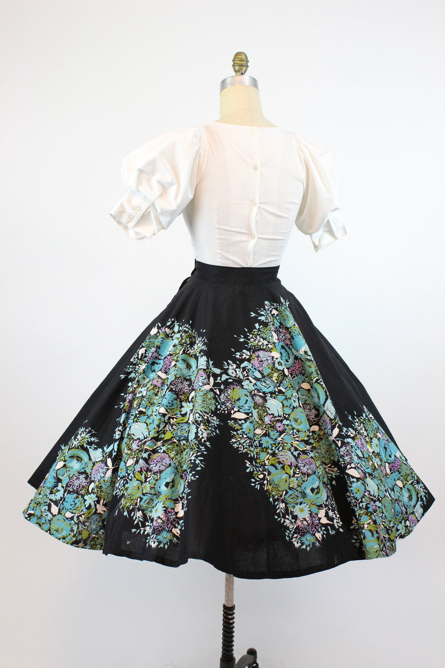 1950s floral circle skirt small | vintage cotton skirt | new in