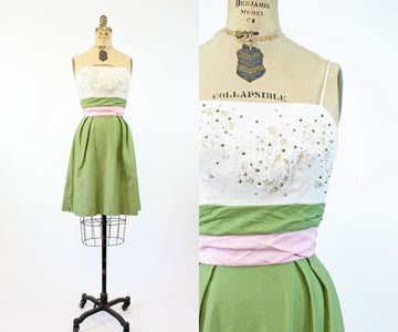 1950s studded rhinestone cotton pique dress xs | vintage wiggle dress | new in