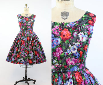 1950s floral cotton dress large volup | vintage belted full skirt | new in