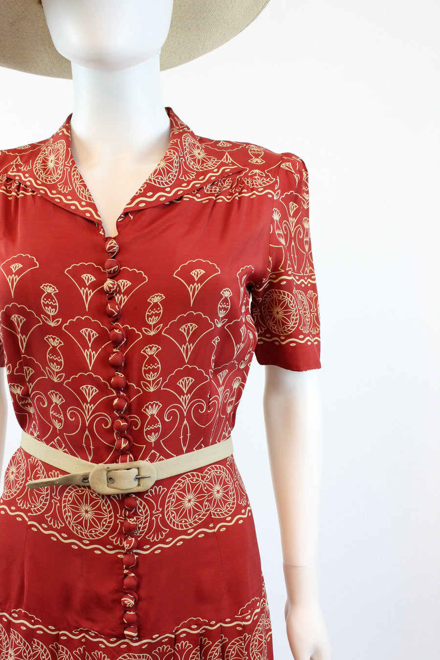 1930s 1940s Georgiana Frocks cold rayon dress xsmall  | vintage moroccan print  | new in