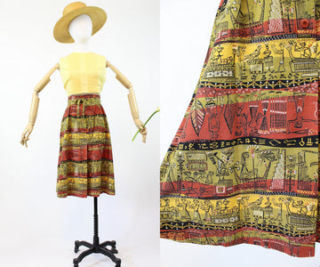 1940s novelty print skirt xxs | vintage egyptian print | new in